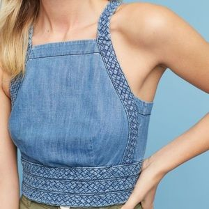 Anthropologie Maeve Braided Cropped Halter Top